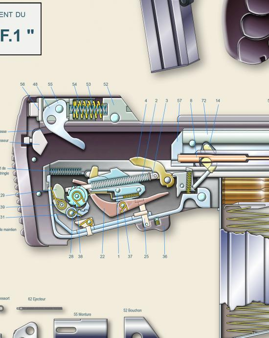 FAMAS Hammer Assembly and Bolt Recoil Buffer Assembly