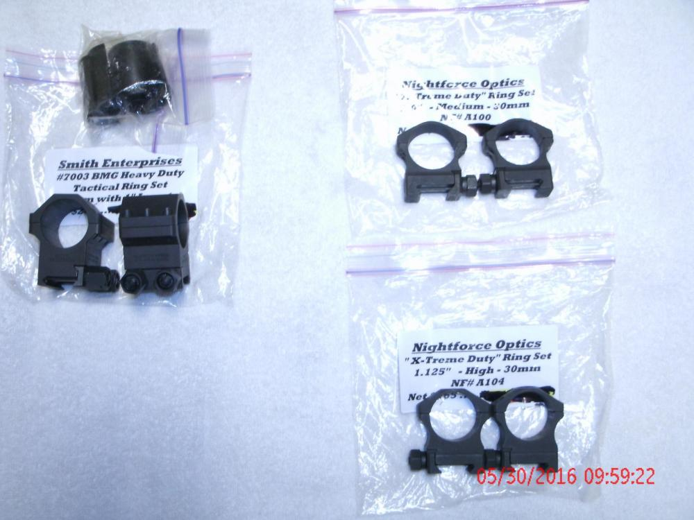 Nightforce and Smith Enterprise Arms Ring Sets.JPG