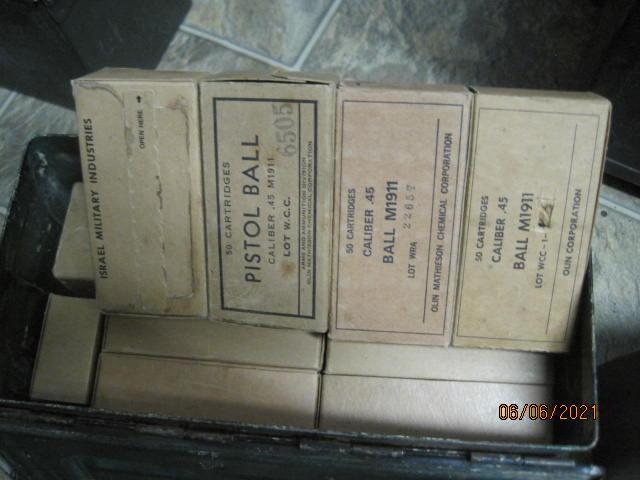 22 boxes .45 ACP FMJ  all US 1 Isreal .60 rd +Ship.JPG